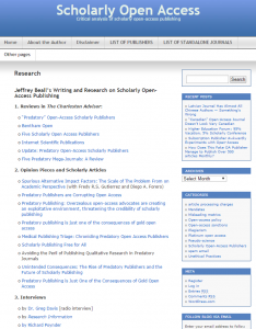 Jeffrey Beall's Scholarly Open Access Blog, http://scholarlyoa.com