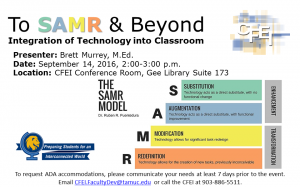 To SAMR & Beyond: Integration of Technology into Classroom Presenter: Brett Murrey, M.Ed. Date: September 14, 2016, 2:00-3:00 p.m. Location: CFEI Conference Room, Gee Library Suite 173 S: Substitution A: Augmentation M: Modification R: Redefinition QEP Global Event To request ADA accommodations, please communicate your needs at least 7 days prior to the event. Email CFEI.FacultyDev@tamuc.edu or call the CFEI at 903-886-5511.