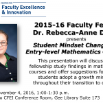 2015-16 Faculty Fellow Dr. Rebecca-Anne Dibbs presents Student Mindset Changes in Entry-level Mathematics Courses Date:November 4, 2016, 1:00-1:30 p.m.Location:CFEI Conference Room, Gee Library Suite 173 This presentation will discuss the fellowship study findings in mathematics courses and offer suggestions for helping students adopt a growth mindset throughout their transition to college.