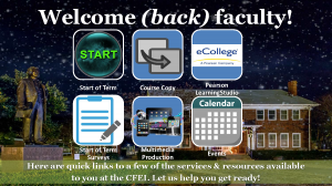 Welcome (back) faculty! Start of Term - http://www.tamuc.edu/facultyStaffServices/centerForFacultyExcellenceAndInnovation/sot.aspx Course Copy - http://www.tamuc.edu/facultyStaffServices/centerForFacultyExcellenceAndInnovation/educationalTechnology/learningStudioCourseCopy.aspx Pearson LearningStudio - http://www.tamuc.edu/facultyStaffServices/centerForFacultyExcellenceAndInnovation/educationalTechnology/default.aspx Start of Term Surveys - http://www.tamuc.edu/facultyStaffServices/centerForFacultyExcellenceAndInnovation/EducationalAssessment/sot.aspx Multimedia Production - http://www.tamuc.edu/facultyStaffServices/centerForFacultyExcellenceAndInnovation/elearning/multimediaProduction.aspx Events - https://appsprod.tamuc.edu/CMS/CFEIEventSessions/ Here are quick links to a few of the services & resources available to you at the CFEI. Let us help you get ready!