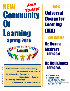 New Community of Learning Spring 2016 Join Today! Topic: Universal Design for Learning (UDL) Leaders: Dr. Donna McCrary and Dr. Beth Jones